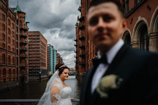 Hochzeitsfoto Brautpaar Speicherstadt Hamburg