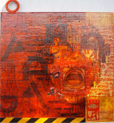 """""""Schriftbild 5"""" Mischtechnik auf Leinen (40x40) 2007"""