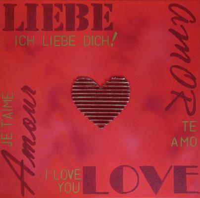 """""""Mit Liebe und Herz II"""", 2016, Collage, Mischtechnik auf Leinwand, 40x40cm, VERKAUFT   -   (c) Atelier Anne Sänger"""