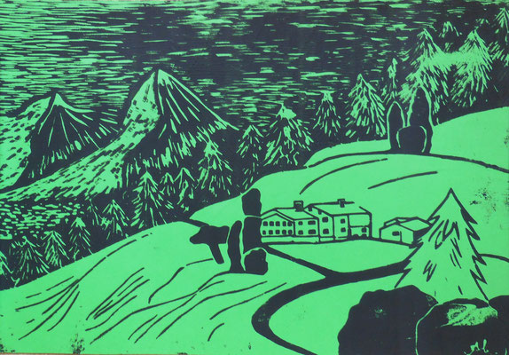 """""""Auf der Alm"""" (schwarz/grün), 2004, Holzdruck, Acrylfarbe auf Papier, 40x30cm   -   (c) Atelier Anne Sänger"""
