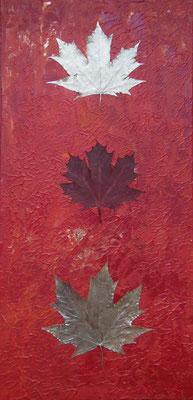 """""""Ahorn im Herbst"""", 2016, Collage, Acrylfarbe auf Leinwand, 30x60cm, VERKAUFT   -   (c) Atelier Anne Sänger"""