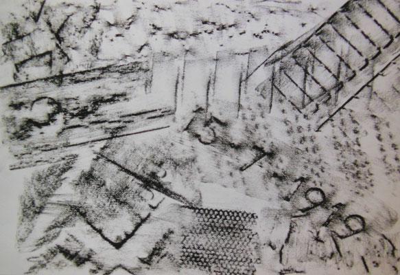"""""""Muster"""", 2005, Frottage, Ölkreide auf Papier, 42x30cm   -   (c) Atelier Anne Sänger"""