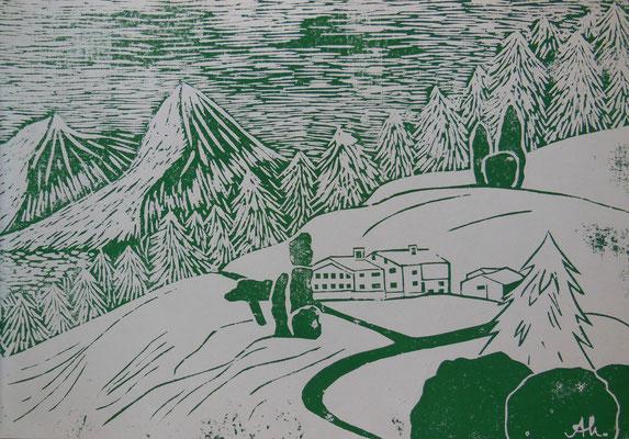 """""""Auf der Alm"""" (grün/weiß), 2004, Holzdruck, Acrylfarbe auf Papier, 40x30cm   -   (c) Atelier Anne Sänger"""