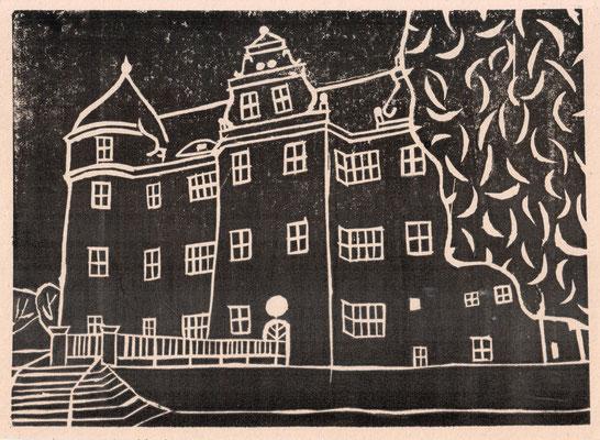 """""""Schloss Großkmehlen"""", 2004, Linoldruck, 22x16cm    -   (c) Atelier Anne Sänger"""