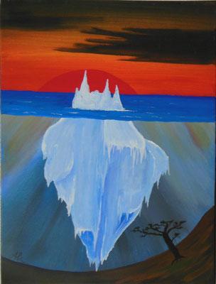 """""""Surrealistischer Eisberg"""", 2007, Acrylfarbe auf Leinwand, 30x40cm   -   (c) Atelier Anne Sänger"""