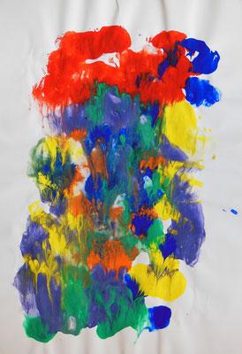 """Blütenpracht"", 2005, Décalcomanie, Acrylfarbe auf Papier, 30x42cm   -   (c) Atelier Anne Sänger"