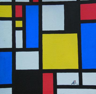"""""""Piet Mondrian"""" (nach P. Mondrian), 2007, Mischtechnik auf Leinwand, 30x30cm   -   (c) Atelier Anne Sänger"""
