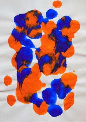 """""""Komplementär"""", 2005, Décalcomanie, Acrylfarbe auf Papier, 21x30cm, VERKAUFT   -   (c) Atelier Anne Sänger"""
