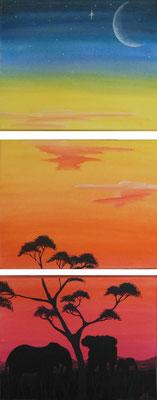 """""""African Feeling"""", 2007, Triptychon, Mischtechnik auf Leinwand, 30x74cm   -   (c) Atelier Anne Sänger"""