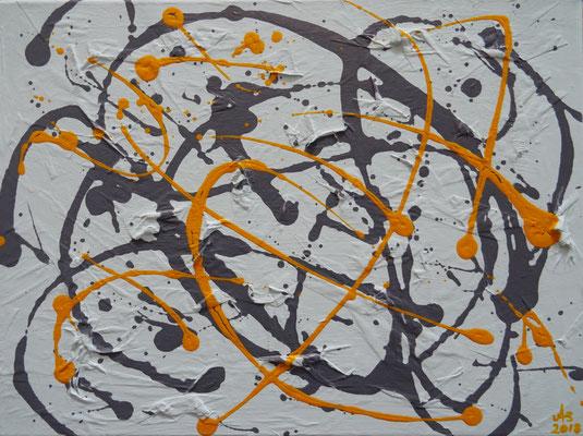 """""""Der kleine Jackson"""", 2018, Action Painting, Acrylfarbe auf Leinwand, 40x30cm   -   (c) Atelier Anne Sänger"""