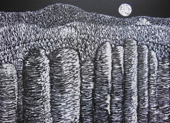 """""""Sächsische Schweiz"""", 2004, Kratzbild, 20x15 cm   -   (c) Atelier Anne Sänger"""