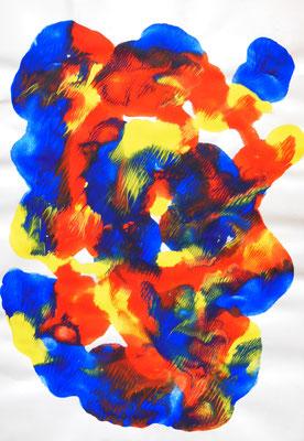 """König"", 2005, Décalcomanie, Acrylfarbe auf Papier, 21x30cm, VERKAUFT   -   (c) Atelier Anne Sänger"