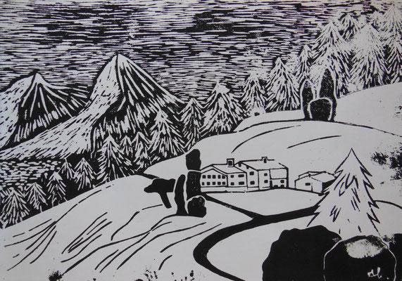 """""""Auf der Alm"""" (schwarz/weiß), 2004, Holzdruck, Acrylfarbe auf Papier, 40x30cm, VERKAUFT   -   (c) Atelier Anne Sänger"""