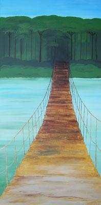 """""""Into the Jungle"""", 2017, Acrylfarbe und Spachtelmasse auf Leinwand, 60x120cm, VERKAUFT   -   (c) Atelier Anne Sänger"""