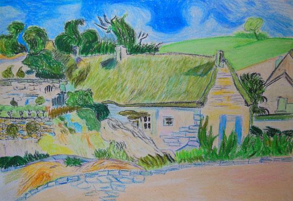 """""""Van Goghs Haus in der Provence"""" (n. van Gogh), 2006, Ölkreide auf Papier, 42x30cm   -   (c) Atelier Anne Sänger"""