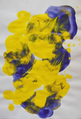 """Quallen"", 2005, Décalcomanie, Acrylfarbe auf Papier, 21x30cm   -   (c) Atelier Anne Sänger"
