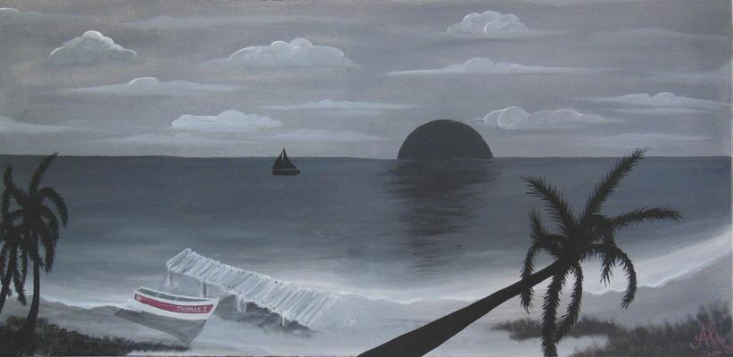 """""""Black Sunset"""", 2009, Mischtechnik auf Leinwand, 100x50cm   -   (c) Atelier Anne Sänger"""