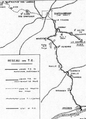 Plan des chemins de fer urbain datant environ de 1933