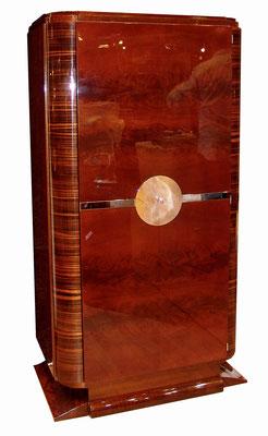 Eintüriger Art Deco Schrank, Mahagoni und Makassar Holz, Klavierlack poliert