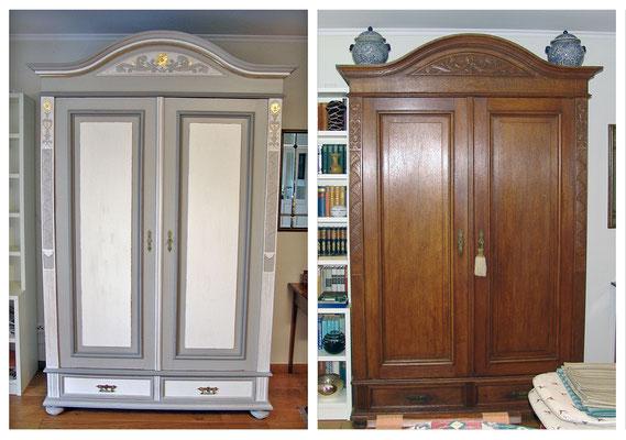 Kleiderschrank um 1900, Eichenholz, vor und nach der Farbgebung