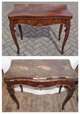 Mahagoni Spieltisch Mitte 19. Jh., die Platte wurde neu furniert und anschließend alles restauriert