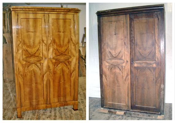 Schrank Biedermeier um 1835, Nussbaum Schellack poliert, Sockel und Seitenleisten wurden erneuert