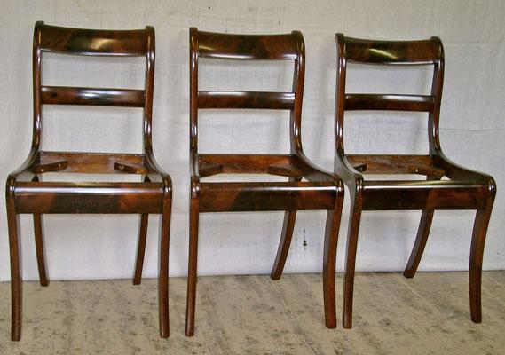 3 Biedermeier Stühle Mahagoni, komplett restauriert