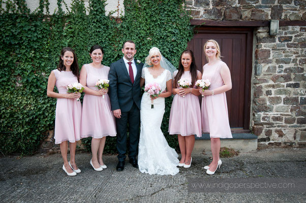 32-weirmarsh-farm-wedding-north-devon-formal-portrait-bride-groom-bridemaids