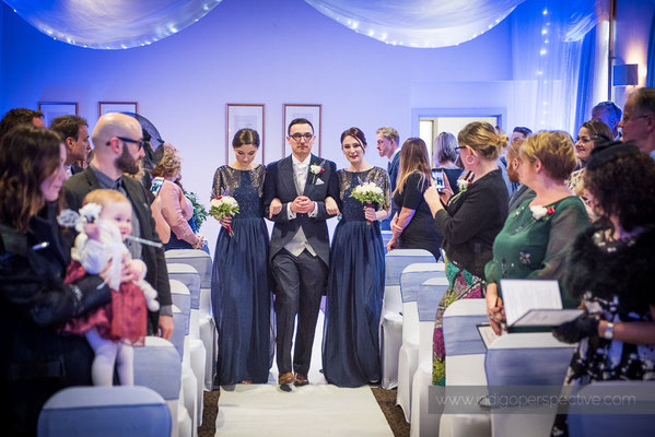 26-same-sex-wedding-north-devon-indigo-perspective-photography-walking-down-aisle-sisters