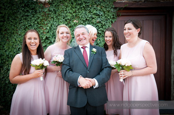 34-weirmarsh-farm-wedding-north-devon-fun-group-photo-bridemaids-bride-dad