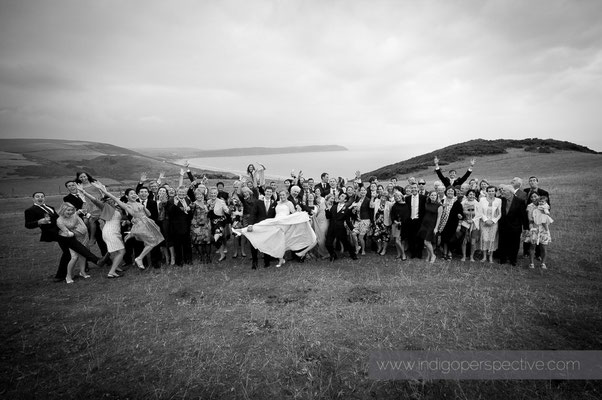 44-woolacombe-barricane-beach-wedding-north-devon-wedding-party-cliff-sea-group-fun