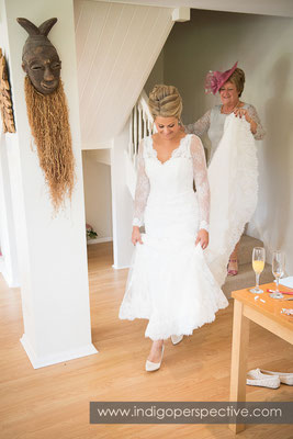 8-tipi-wedding-photography-north-devon-bride-coming-down-stairs