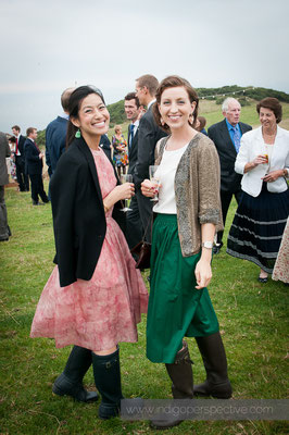 35-woolacombe-barricane-beach-wedding-north-devon-guests-smiles-wellies