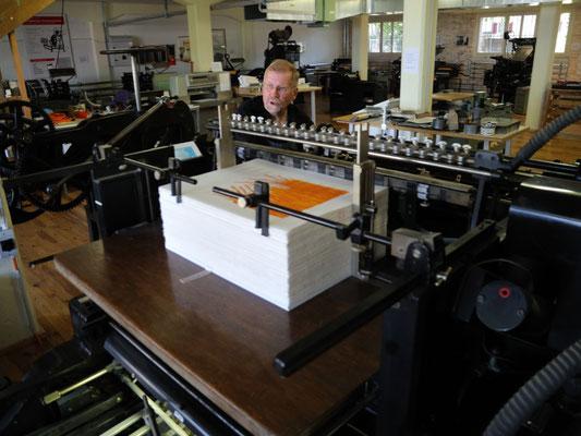 Zylinderpresse Papierauslage