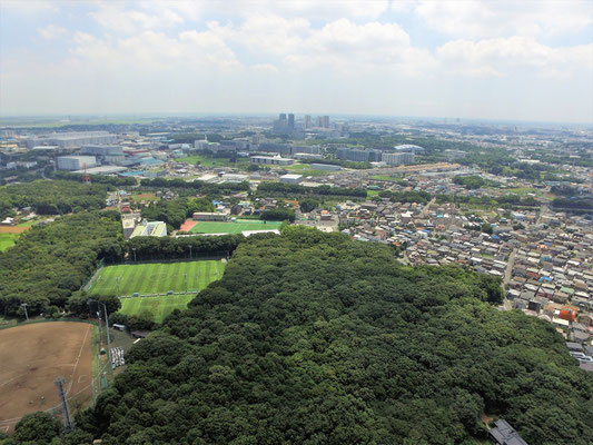 上空から柏の葉キャンパス方面を遠望