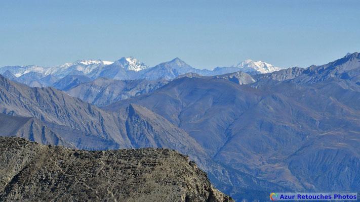 La Dent Parrachée, le Mont-Blanc et la Grande Casse depuis le sommet