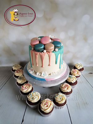 Driptaart met macarons gender reveal