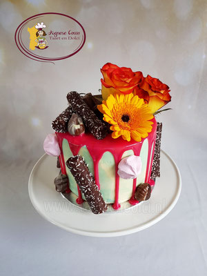 Dripcake met echte bloemen