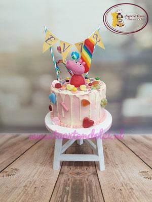 Peppa Pig taart zonder fondant