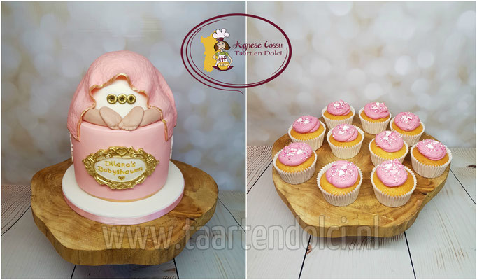 Babybillen taart en cupcakes babyshower