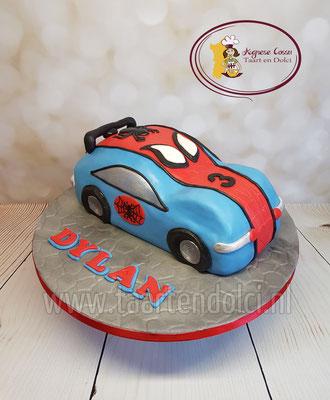 Spiderman auto taart