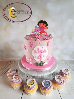 Dora taart afgesmeerd met ganache