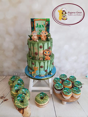 Jungle dripcake en sweettable