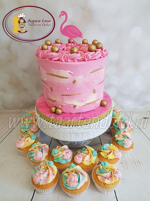 Flamingo dripcake