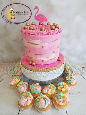 Flamingo dripcake