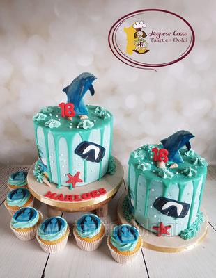 Dolfijnen dripcake