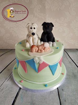 Babyshower taart met hondjes en baby