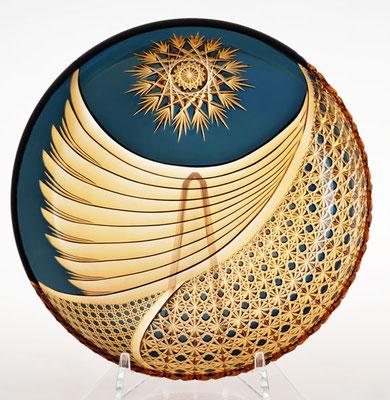 綾切子 三層二色 大皿