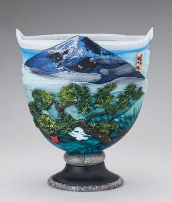 花器 金・プラチナ彩 世界遺産「富士山」