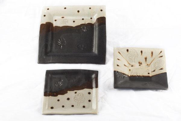 Assiettes carrées noir